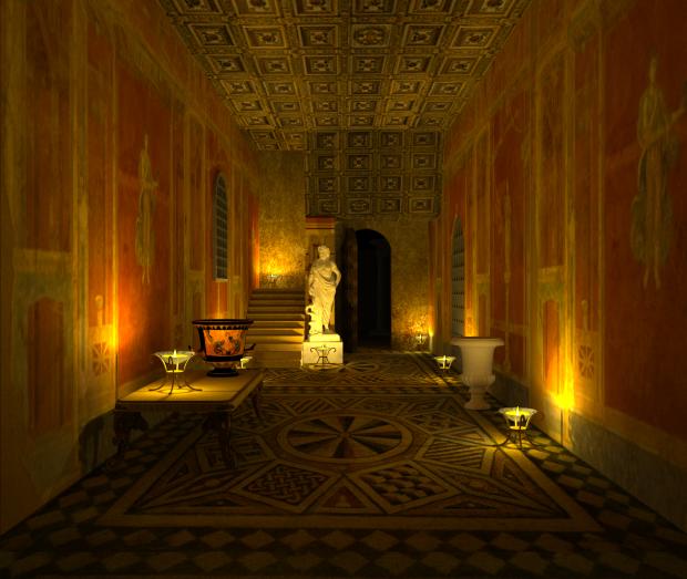 Recreación de un espacio con ornamentación clásica.
